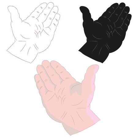 Coloring hand, palm open pointing upwards, on a white background, vector Ilustração