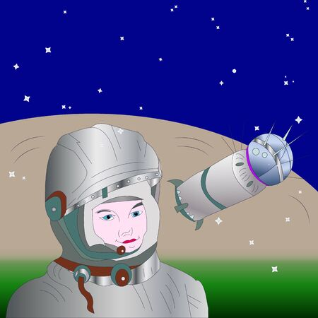Banner, the first cosmonaut and the Vostok-1 rocket, against a cosmic background, vector