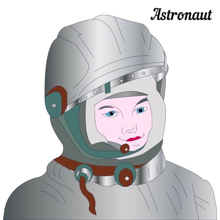 The head of an astronaut in a spacesuit, close-up on a white background, vector