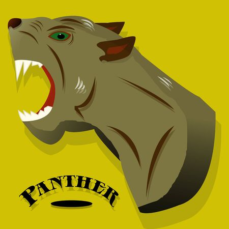 Aggressive gray panther close-up, banner for a site on a yellow background, vector