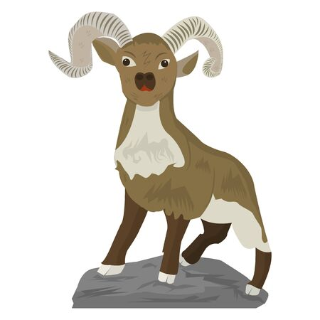 Comic mountain goat without a beard, on a hill, on a white background, vector