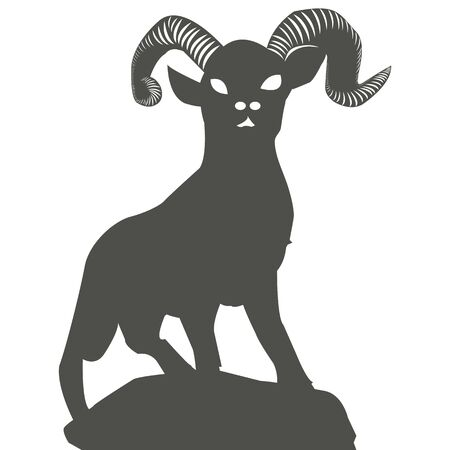 Silhouette of a mountain goat on a hill, on a white background, vector