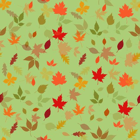 Seamless pattern autumn leaves on a light green background, vector