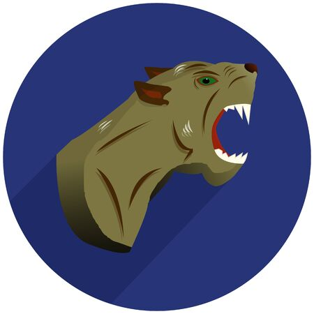 Round blue aggressive panther icon, flat style on white background, vector Ilustração