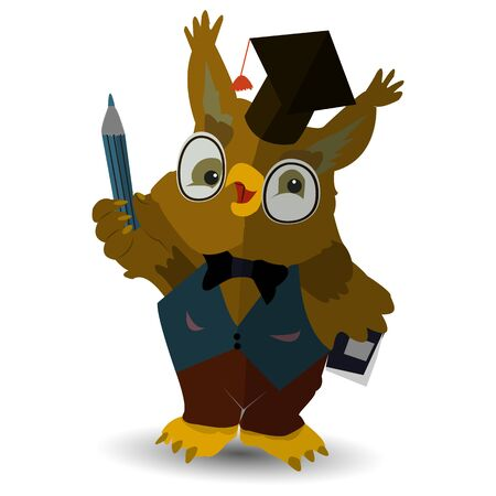 Character, owl teacher with a pencil in his hand, in the hat of the judge, on a white background, vector Ilustração