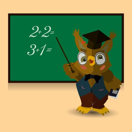 Character, Owl teacher conducts a lesson at the blackboard. Learn numbers to count. Illustration on a pink background, vector