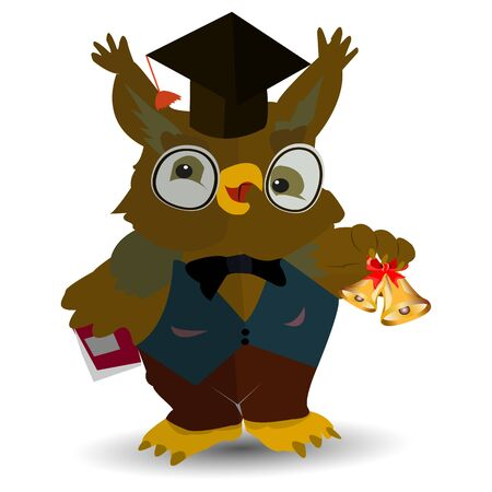 Cartoon character owl teacher in a man's vest, and holding a bell and a textbook book, on a white background, vector