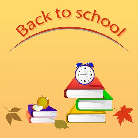 Light brown background with the inscription back to school. Books, alarm clock, autumn leaves and apple are depicted on the banner,