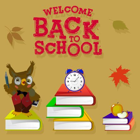 Brown banner with the inscription back to school. Books, alarm clock, autumn leaves and owl teacher are depicted on the background,