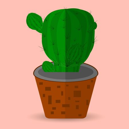 Cactus in a flower pot, flat style on a pink background, vector 일러스트