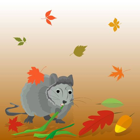 Gray rat nibbles on bamboo in autumn, fall leaves, vector