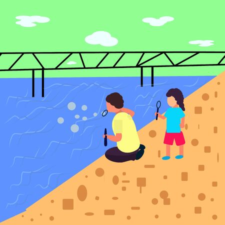 Landscape flat style, boy and girl blow bubbles near the sea where is the bridge, vector