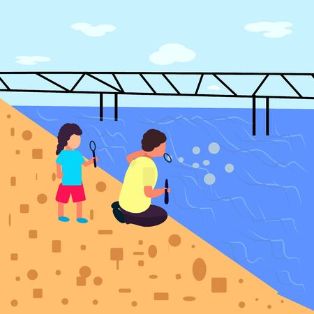 Landscape flat style, boy and girl blow bubbles near the sea where is the bridge Imagens