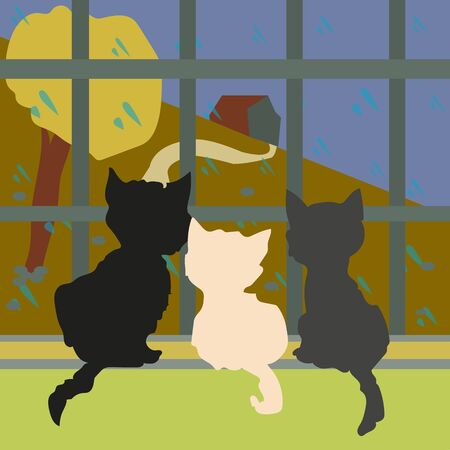 Three little kittens are looking out the window where it is autumn rain, flat style, vector