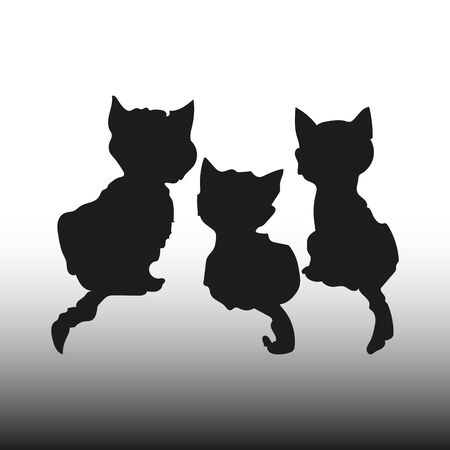 Silhouette Three black kittens, rear view, on a white background, vector