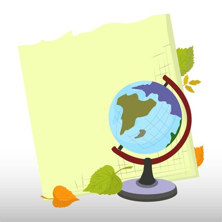 Abstract background, school notebook and desktop globe around autumn leaves, isolated on white background, vector