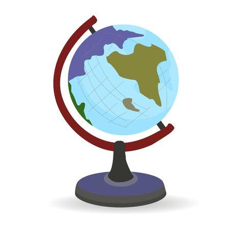 Desktop globe for school, blue, on a white background, vector