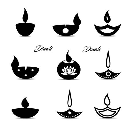 Collection of black icons, Islamic oil lamp symbol. Decorations for the holiday of Diwali. On a white background, vector Ilustração