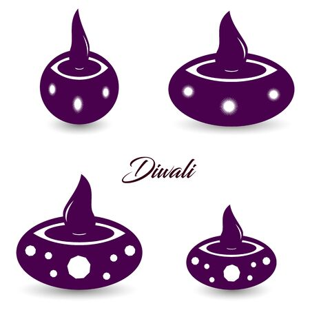 Collection of purple badges, islamic oil lamp symbol. Diwali. Islamic culture. Silhouette symbol. Vector