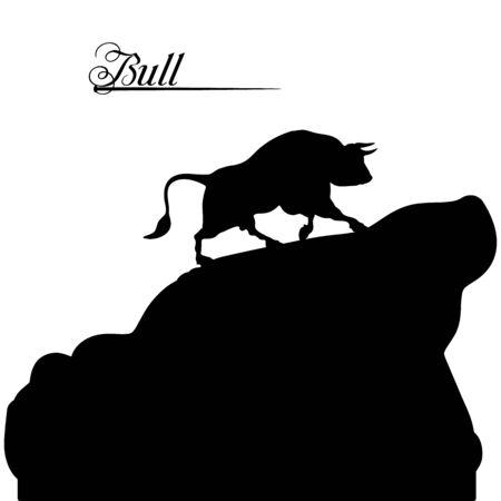 Black bull rises uphill, silhouette on a white background, vector Illustration