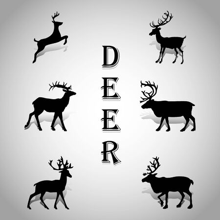Collection of deer silhouettes, for decoration on a gray background, vector