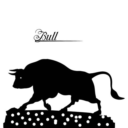 Silhouette of a black bull close-up, on a white background, vector