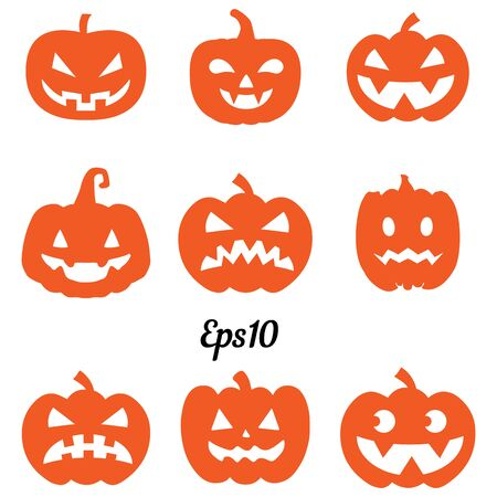 Collection of orange pumpkins for decoration for Halloween holiday, silhouette on a white background, vector 일러스트