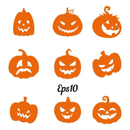 Collection of orange pumpkins for decoration for Halloween holiday, silhouette on a white background, vector Ilustração