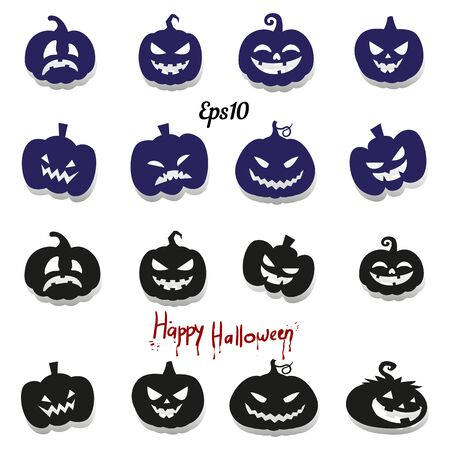 Big collection of pumpkins for decoration for the holiday of Halloween, silhouette on a white background, vector