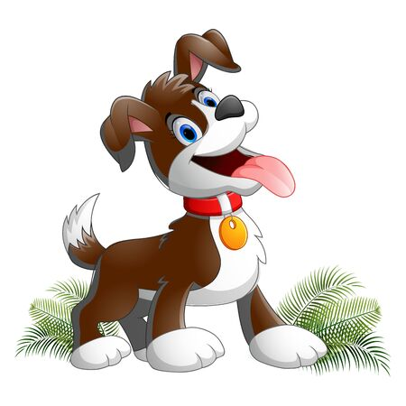 Brown cartoon dog, with a collar stuck out his tongue, object on a white background, vector