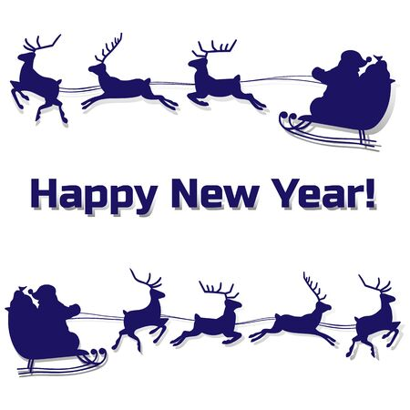 Christmas Silhouette of Santa Claus rides in a sleigh on deer, cartoon on white background, vector Ilustração