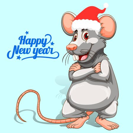 Gray cartoon rat in a hat of Santa Claus, Symbol of the new 2020, on a light blue background, vector