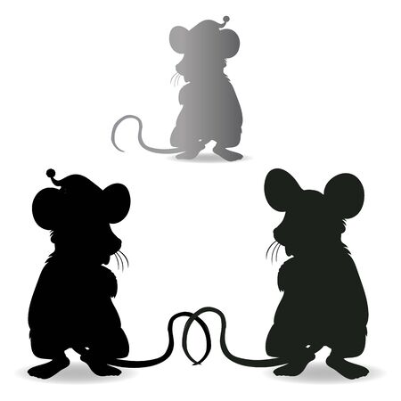 Rat collection, silhouette for new year 2020 design, on a white background, vector 일러스트
