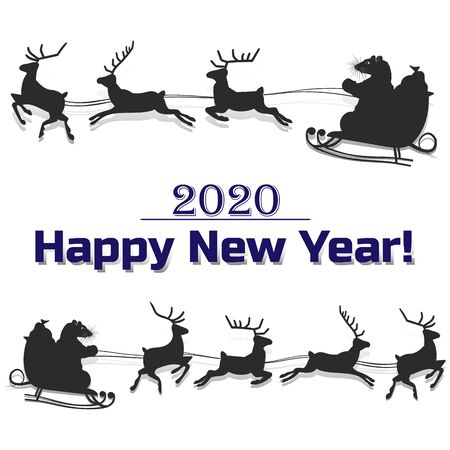 Rat rides on a sleigh pulled by deer, silhouette decoration for 2020, on a white background, vector