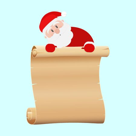 Christmas. Santa Claus holds an empty parchment banner from above, on a light blue background, vector Ilustração