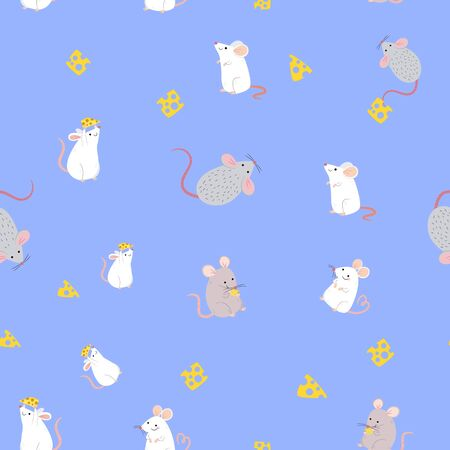 Gray and white rats and cheese on a light blue background, seamless pattern, vector