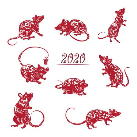 Collection of red silhouettes, year of the rat. Decoration for 2020 Chinese year of the rat, on white background, vector
