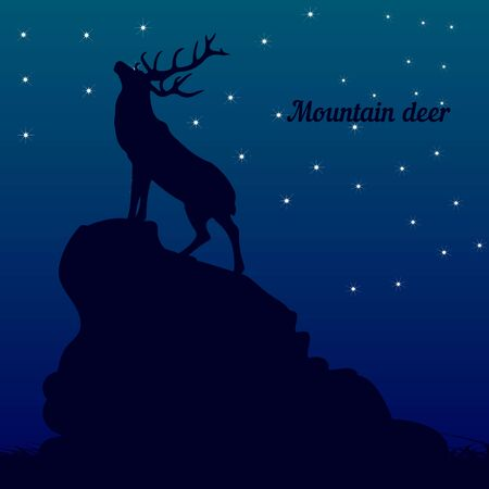 Silhouette of a deer on top of a mountain, head raised up, on a night background and stars, vector