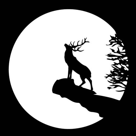 Silhouette of a deer on top of a mountain, head raised up, at sunrise or sunset, square icon, vector