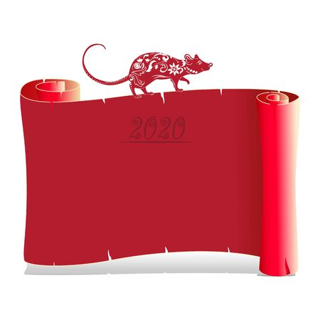 Year of the rat, red silhouette. On blank parchment. Decoration for 2020 Chinese year of the rat, on a white background, vector