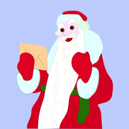 Santa Claus holds an envelope in his hands, illustration on a light blue background, vector