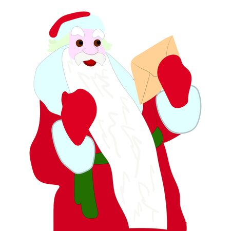 Happy Santa Claus holding a letter in his hands, character on a white background, vector