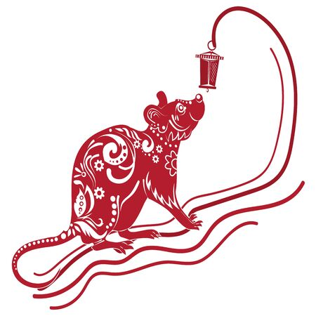 Year of the rat, red silhouette. Decoration for 2020 Chinese year of the rat, on a white background, vector
