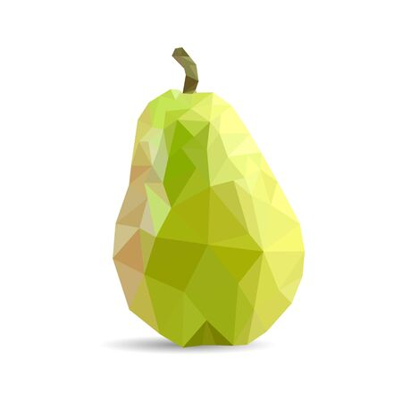 Juicy green pear triangulation. Low poly object on a white background, vector