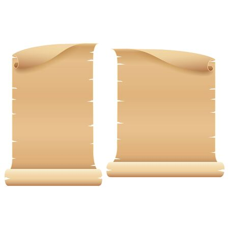 Two Blank Light Brown Parchment on White Background, Vector 일러스트