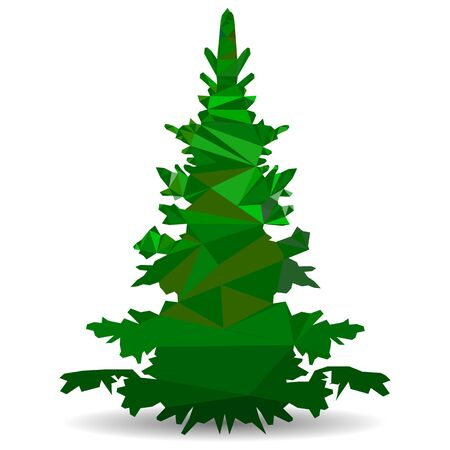 Green Christmas tree in the style of low poly, Close-up on a white background triangulation, vector