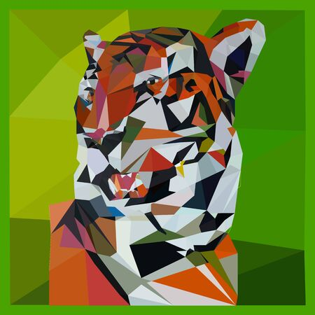 Low poly illustration of a tiger on a green background, close up triangulation, vector Ilustração