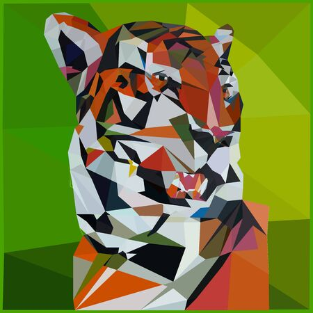 Low poly illustration of a tiger on a green background, close up triangulation,