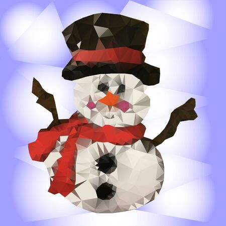 Snowman low poly illustration on light blue background, vector
