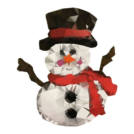 Snowman triangulation. Low Poly illustration on white background, vector